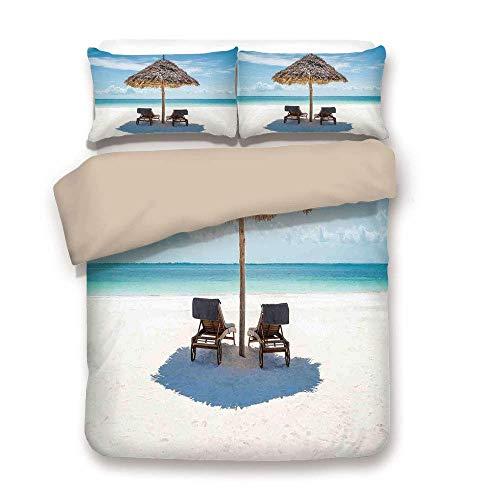 (TARTINY Duvet Cover Set,Back of Khaki,Seaside,Wooden Sun Loungers Facing Eastern Ocean Under a Thatched Umbrella in Zanzibar,Turquoise Cream,Decorative 3 Pcs Bedding Set by 2 Pillow Shams,Twin)
