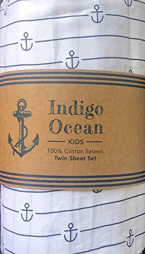 Indigo Ocean 3pc Sheet Set Dark Navy Blue Anchors and Stripes on a White Background 100% Cotton Sateen Luxury - Anchor Stripe, Navy (Twin)