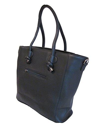 Shopper Handtasche mit Totenkopf Schultertasche Damen Tasche Schwarz Skull