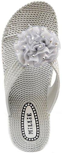 Absolute Footwear - Sandalias de vestir de Caucho para mujer plata