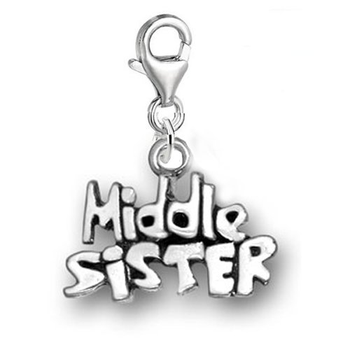 SEXY SPARKLES Clip on Big Sister Middle Sister Little Sister Dangle Pendant for European Clip on Charm Jewelry with Lobster Clasp Choose Your Charm from Menu (Middle Sister) ()