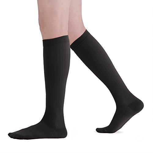 Fytto 2167 Men's Microfiber Compression Socks, 20-30mmHg Graduated Support Knee High Trouser Stocking for Varicose Veins, Lymphedema and Aching Leg, Black, Large ()