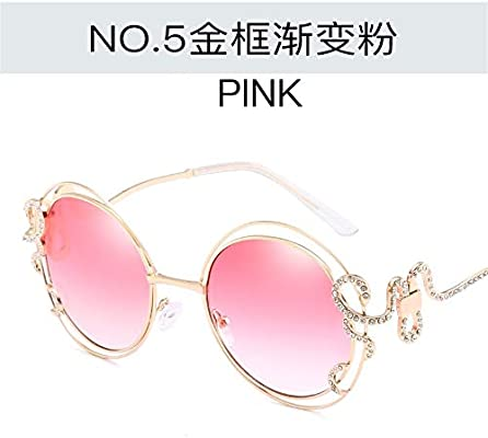 OULUOBA Double circle hollow sunglasses with diamonds