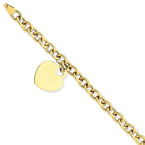(14k Yellow Gold Heart Charm Bracelet 7.25 Inch W/charm/love Fine Jewelry Gifts For Women For Her)