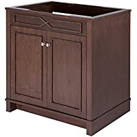 MAYKKE Abigail 36 Inch Bathroom Vanity Cabinet in Birch Wood American Walnut Finish, Single Floor Mounted Brown Vanity Base Cabinet Only YSA1153601