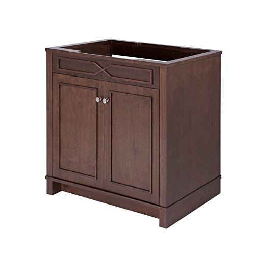 Maykke Abigail 36″ Bathroom Vanity Cabinet in Birch Wood American Walnut Finish | Single Floor Mounted Brown Vanity Base Cabinet Only | YSA1153601