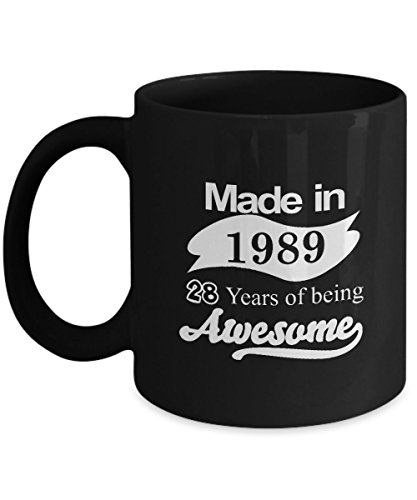 HappyBirthdayMug - Made in 1989 age Years of Being Awesome Coffee Mug - 28th Birthday Gift for Men, Women, Dad, Mom, Grandpa, Grandma, Uncle, Aunt - Wonderful Christmas Gifts - 11Oz Tea Cup Black