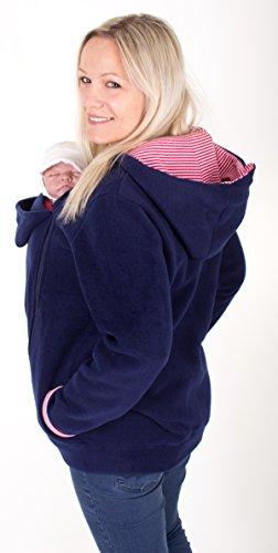 Milchshake - kuschelige Tragejacke aus Fleece für Mama und Baby - Ahoi - marineblau - Größe XXL