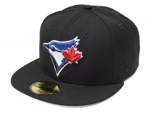 New Era 59fifty Toronto Blue Jays Fitted Hat Cap All BLACK/Current Logo mlb (7 1/4)