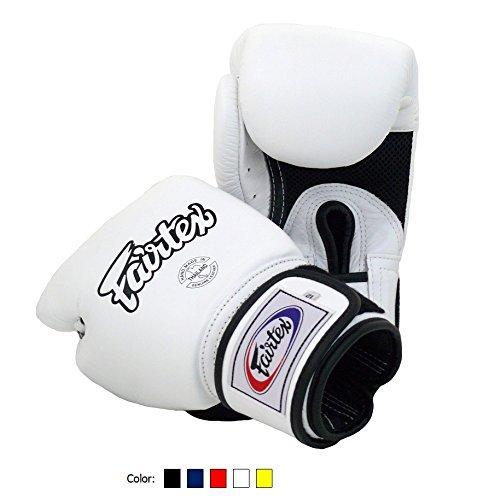 (Fairtex Muay Thai Boxing Gloves BGV1 BR Breathable White 12 oz Training & Sparring Gloves for Kick Boxing MMA K1)