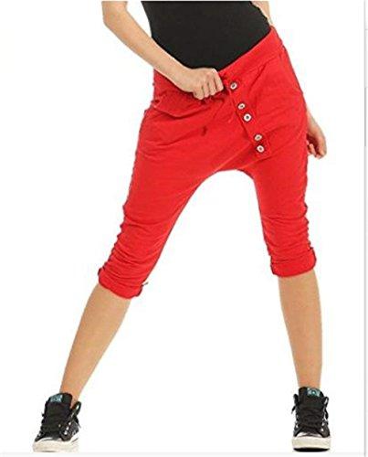 7 Pantaloni di Nahen Single Pantaloni Elastica Mode Tasche Di Vita Eleganti 8 Accogliente Pantaloni Taille Moda Lunga Stoffa Anteriori Rosso Pantaloni Harem marca Donna Monocromo Estivi Breasted Pantaloni xOUPaSwq1