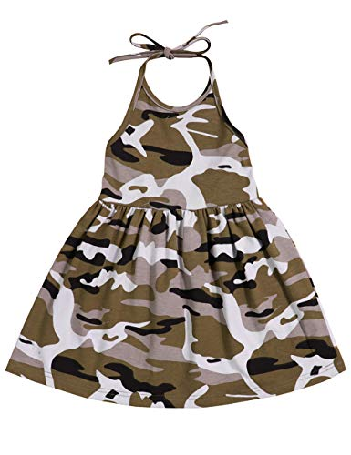 Toddler Baby 6 12 18 24 Months Girl Dresses Camouflage Skirt Summer Sleeveless Halter Beach Skirt 2-3 ()