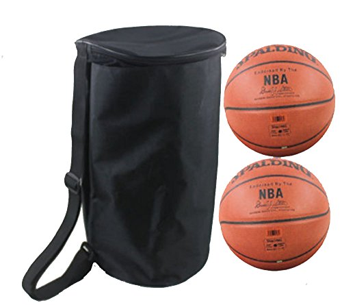 Professional 2 Basketballs/Volleyballs/Footballs Equipment Bags Waterproof Oxford Sports Duffel Bags Lightweight Portable Gym Tote Ball Storage Bag Organizer Backpack Carrier Holder (Black)