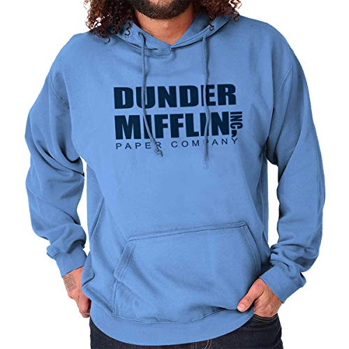 Brisco Brands Dunder Paper Company Mifflin Office TV Show Hoodie Carolina Blue (Best Mens Hoodie Brands)