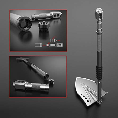 Zune Lotoo Survival Shovel(Crotalus),Casting Steel,with Flashlight,Survival Gear for Adventure, Real-time Search,Camping,Off Road Motors,Brushcraft and Backpacking by Zune Lotoo (Image #2)