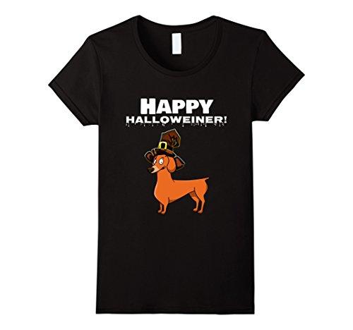 Womens Happy Halloweiner Shirt Dachshund Gift Large Black