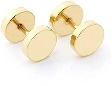0be28df27 Gadget Deals Flat Round Gold stud earrings for men/boys Earing: Amazon.in:  Jewellery
