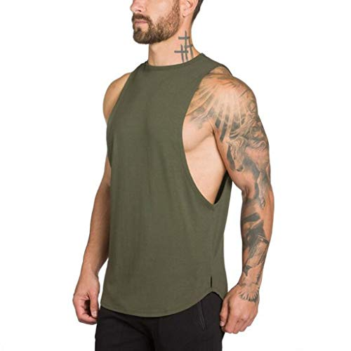 - Pandaie Mens Blouse Shirts Men's Gyms Bodybuilding Fitness Muscle Sleeveless Singlet T-Shirt Top Vest Tank Army Green