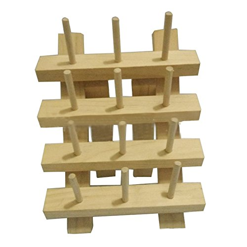 SODIAL(R) 12 Spool Wooden Bobbin Thread Rack and Organizer for Sewing Quilting Embroidery ()