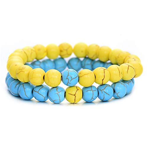 (HOUBL 2 pieces/couple distance bracelet classic natural stone white and black yin and yang beaded bracelet men's women's style BEST Friend HOT,yellowblue )