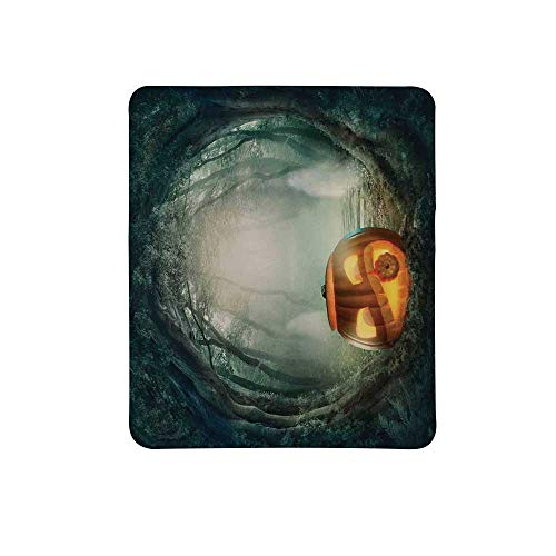 Halloween Decorations Non Slip Mouse Pad,Scary Halloween Pumpkin Enchanted Forest Mystic Twilight Party Art for Home & Office,11