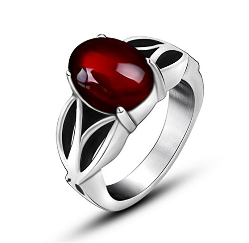 PSRINGS Black Onyx Red Agate Ring Thick In Antique 316L Titanium Stainless Steel Gothic Style Acessories 8.0