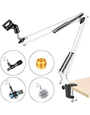 NEEWER Adjustable Microphone Suspension Boom Scissor Arm Stand, Max Load 1 KG Compact Mic Stand Made of Durable Steel for Radio Broadcasting Studio, Voice-Over Sound Studio, Stages, TV Stations(White)