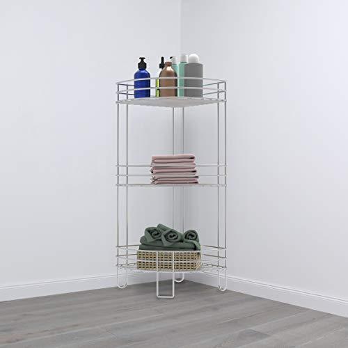 Home 83-136-3TIER Lavish Standing Corner Shelf-3 Tier Wire Storage Rack for Living Room, Bathroom, Bedroom, Kitchen or Office, Metal Floor Organizer (Silver)