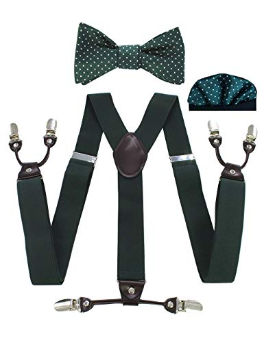 JEMYGINS Mens Green Suspender Y Shape and Self Bow Tie Pocket Square Set(4)
