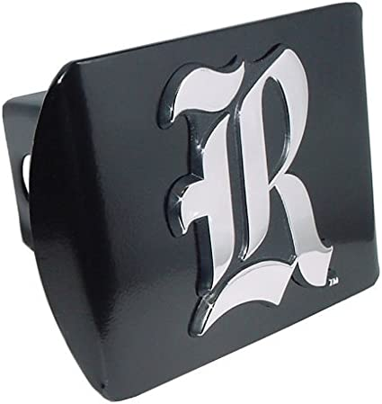 """Rice University Owls Black with Chrome Scripted /""""R/"""" Emblem NCAA College Sports Trailer Hitch Cover Fits 2 Inch Auto Car Truck Receiver"""