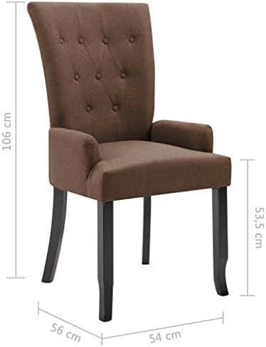 vidaXL Chaise de salle ¨¤ manger avec accoudoirs Marron