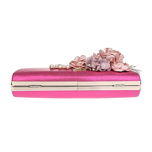 Rose red Wedding Women's Evening KAXIDY Bag Prom Fashion Bridal Party Clutch Bag Satin Floral BHqwZ7