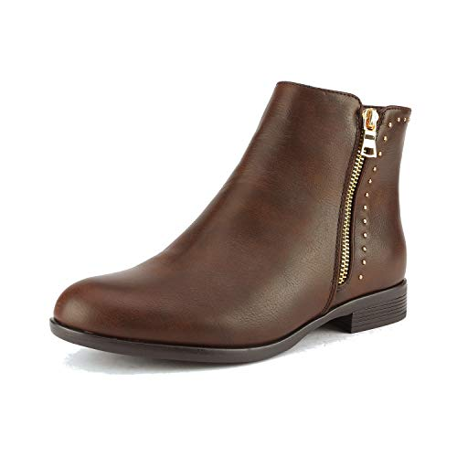DREAM PAIRS Women's Stubby Brown Flat Heel Ankle Boots Size 7.5 B(M) US