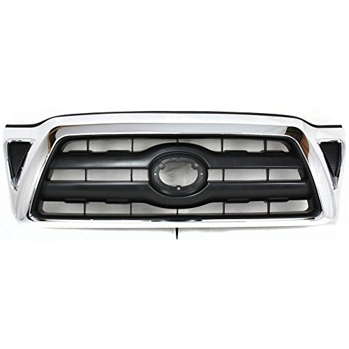 (Grille Compatible with Toyota Tacoma 05-08 Chrome Shell W/Black)