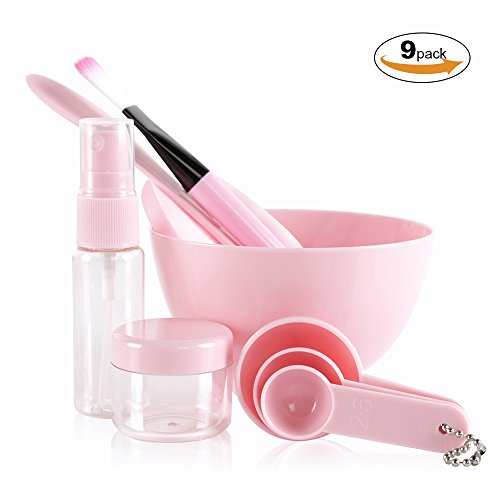 Teenitor Face Mask Mixing Bowl Set with Big Volume 3.94'' Diameter, Lady Facial Care Mask Facemask Mixing Tool Sets Mask Bowl Spatula Brush Spray Bottle Puff Soaking Bottle Gauges Pack - Big Facial