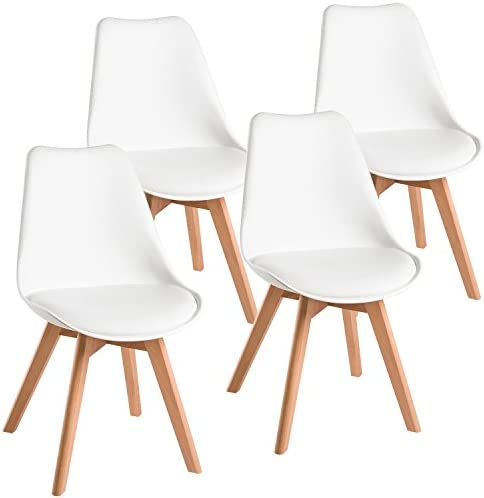 Harper Bright Designs Eames Style Dining Mid Century Modern DSW Armless Side Chairs, Set of 4 White