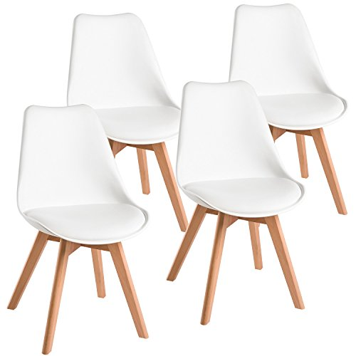 Harper&Bright Designs Eames Style Dining Chairs Mid Century Modern Dsw Armless Side Set of 4 (White) by Harper&Bright Designs