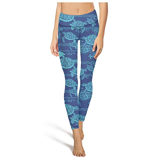 (Heertty Women's Sea Abstract Turtles Blue Yoga Pants High Waist Tummy Control Workout Leggings)