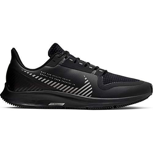 Nike Air Zoom Pegasus 36 Shield Men's Running Shoe Black/Black-Metallic Silver Size 10.5