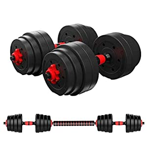 Well-Being-Matters 410aHL5y49L._SS300_ HUEP Adjustable Dumbbell Set,Male and Female Fitness Free Weight Dumbbell Set with Connecting Rod can be Used as a…