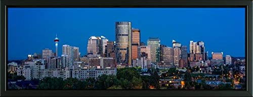 Easy Art Prints Panoramic Images's 'Skylines in a City, Calgary, Alberta, Canada' Premium Framed Canvas Art - 24