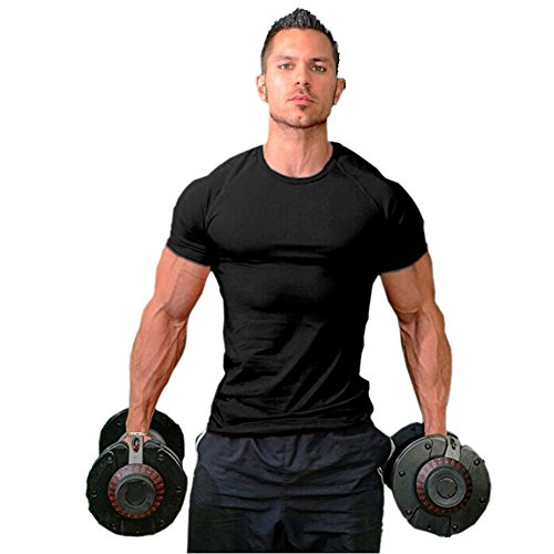ZUEVI Men's Cotton Slim Fit Athletic Bodybuilding T-Shirts Muscle Short Sleeve Tee(Black-XL-M)