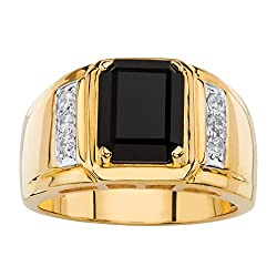 18K Yellow Gold Plated With Diamond Natural Black Onyx Ring