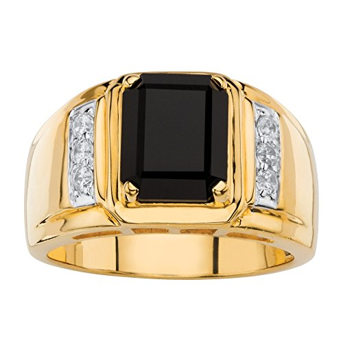 (Palm Beach Jewelry Men's Genuine Black Onyx and White Diamond 18k Gold-Plated Ring (.21 cttw) Size 10 )