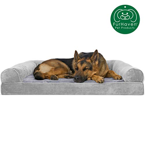 Furhaven Pet Dog Bed | Orthopedic Faux Fur & Velvet Traditional Sofa-Style Living Room Couch Pet Bed w/ Removable Cover for Dogs & Cats, Smoke Gray, Jumbo