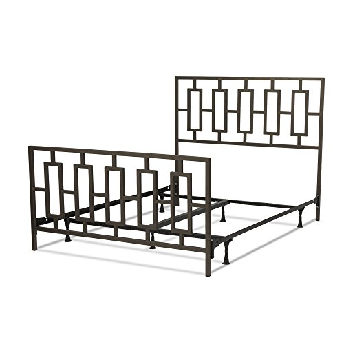 Miami Complete Bed with Squared Tube Metal Duo Panels and Geometric Design, Coffee Finish, California (Wesley Metal Bed)