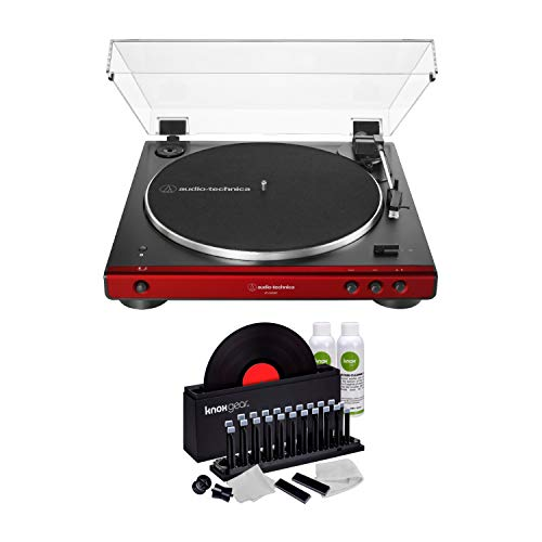 Audio-Technica AT-LP60XBT Bluetooth Fully Automatic Stereo Turntable (Red) with Knox Gear Vinyl Record Cleaner Kit (2 Items)