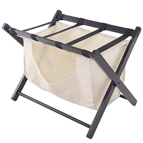 Luggage Rack with Hamper Laundry Cloth Bag Folding Bedroom Suitcase Wood Stand