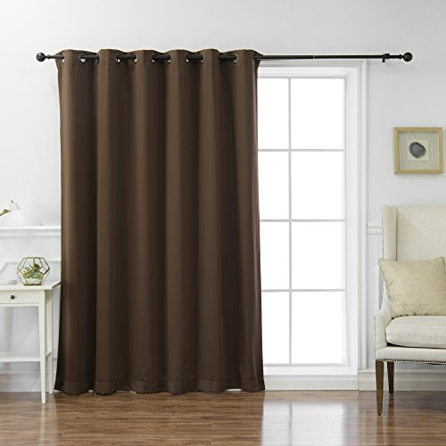 Best Home Fashion Wide Width Thermal Insulated Blackout Curtain - Antique Bronze Grommet Top - Chocolate - 80