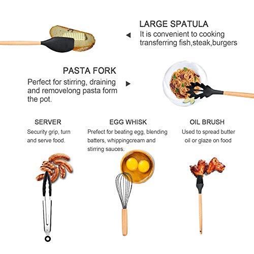 Silicone Cooking Utensils Set Heat Resistant Bpa Free Kitchen Utensils Set Wooden Handle Durable For Nonstick Cookware Cooking Utensils Set With Holder (17pcs)